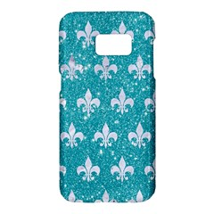 Royal1 White Marble & Turquoise Glitter (r) Samsung Galaxy S7 Hardshell Case
