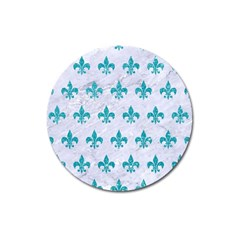 Royal1 White Marble & Turquoise Glitter Magnet 3  (round)