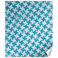 Houndstooth2 White Marble & Turquoise Glitter Canvas 20  X 24
