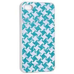 Houndstooth2 White Marble & Turquoise Glitter Apple Iphone 4/4s Seamless Case (white)