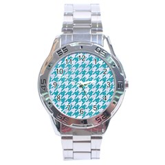 Houndstooth1 White Marble & Turquoise Glitter Stainless Steel Analogue Watch