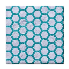 Hexagon2 White Marble & Turquoise Glitter (r) Face Towel