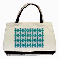 Diamond1 White Marble & Turquoise Glitter Basic Tote Bag