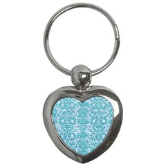Damask2 White Marble & Turquoise Glitter (r) Key Chains (heart)