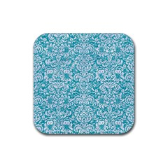 Damask2 White Marble & Turquoise Glitter Rubber Square Coaster (4 Pack)