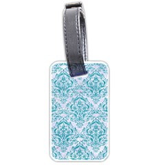 Damask1 White Marble & Turquoise Glitter (r) Luggage Tags (one Side)