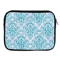 Damask1 White Marble & Turquoise Glitter (r) Apple Ipad 2/3/4 Zipper Cases