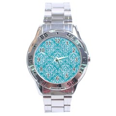 Damask1 White Marble & Turquoise Glitter Stainless Steel Analogue Watch