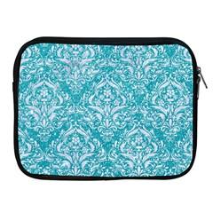 Damask1 White Marble & Turquoise Glitter Apple Ipad 2/3/4 Zipper Cases