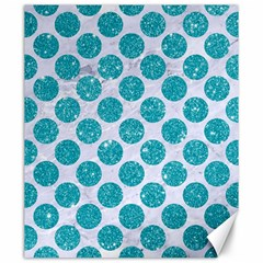 Circles2 White Marble & Turquoise Glitter (r) Canvas 20  X 24
