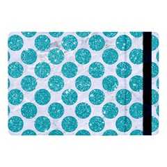 Circles2 White Marble & Turquoise Glitter (r) Apple Ipad Pro 10 5   Flip Case