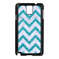 Chevron9 White Marble & Turquoise Glitter (r) Samsung Galaxy Note 3 N9005 Case (black)