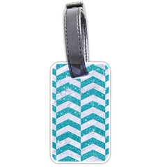 Chevron2 White Marble & Turquoise Glitter Luggage Tags (one Side)