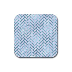 Brick2 White Marble & Turquoise Glitter (r) Rubber Square Coaster (4 Pack)