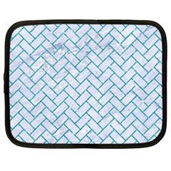 Brick2 White Marble & Turquoise Glitter (r) Netbook Case (xxl)