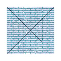 Brick1 White Marble & Turquoise Glitter (r) Acrylic Tangram Puzzle (6  X 6 )