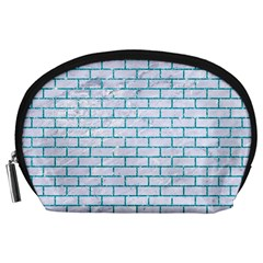 Brick1 White Marble & Turquoise Glitter (r) Accessory Pouches (large)