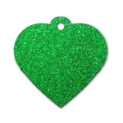 Green Glitter Dog Tag Heart (two Sides)