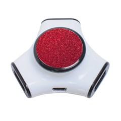 Red  Glitter 3 Port Usb Hub