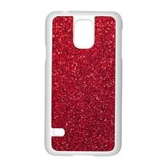 Red  Glitter Samsung Galaxy S5 Case (white)