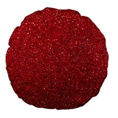 Red  Glitter Large 18  Premium Flano Round Cushions