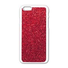Red  Glitter Apple Iphone 6/6s White Enamel Case