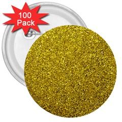 Gold  Glitter 3  Buttons (100 Pack)