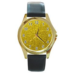 Gold  Glitter Round Gold Metal Watch