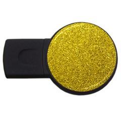 Gold  Glitter Usb Flash Drive Round (4 Gb)