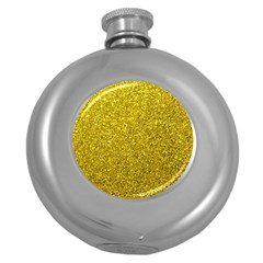 Gold  Glitter Round Hip Flask (5 Oz)