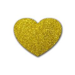 Gold  Glitter Rubber Coaster (heart)