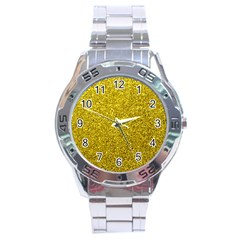 Gold  Glitter Stainless Steel Analogue Watch