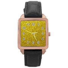 Gold  Glitter Rose Gold Leather Watch