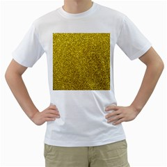 Gold  Glitter Men s T Shirt (white)