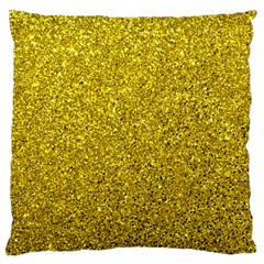 Gold  Glitter Large Flano Cushion Case (one Side)