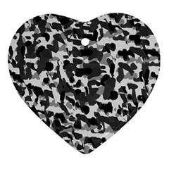 Grey Camo Heart Ornament (two Sides)