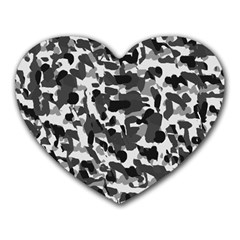 Grey Camo Heart Mousepads