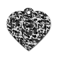 Grey Camo Dog Tag Heart (one Side)