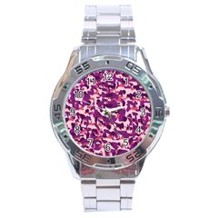 Pink Camo Stainless Steel Analogue Watch