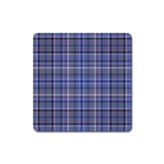 Blue Plaid Square Magnet