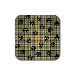 Yellow Plaid Anarchy Rubber Square Coaster (4 Pack)