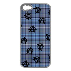 Blue  Plaid Anarchy Apple Iphone 5 Case (silver)