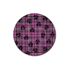 Pink  Plaid Anarchy Rubber Coaster (round)
