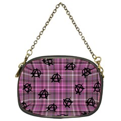 Pink  Plaid Anarchy Chain Purses (one Side)