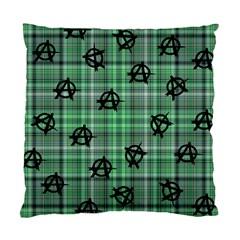 Green  Plaid Anarchy Standard Cushion Case (one Side)