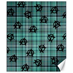 Aqua  Plaid Anarchy Canvas 20  X 24