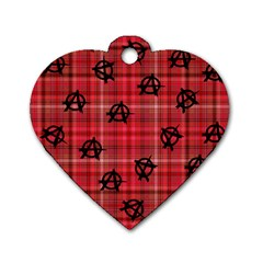 Red Plaid Anarchy Dog Tag Heart (two Sides)