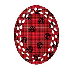 Red Plaid Anarchy Oval Filigree Ornament (two Sides)