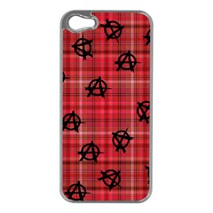 Red Plaid Anarchy Apple Iphone 5 Case (silver)
