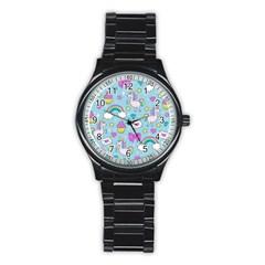 Cute Unicorn Pattern Stainless Steel Round Watch